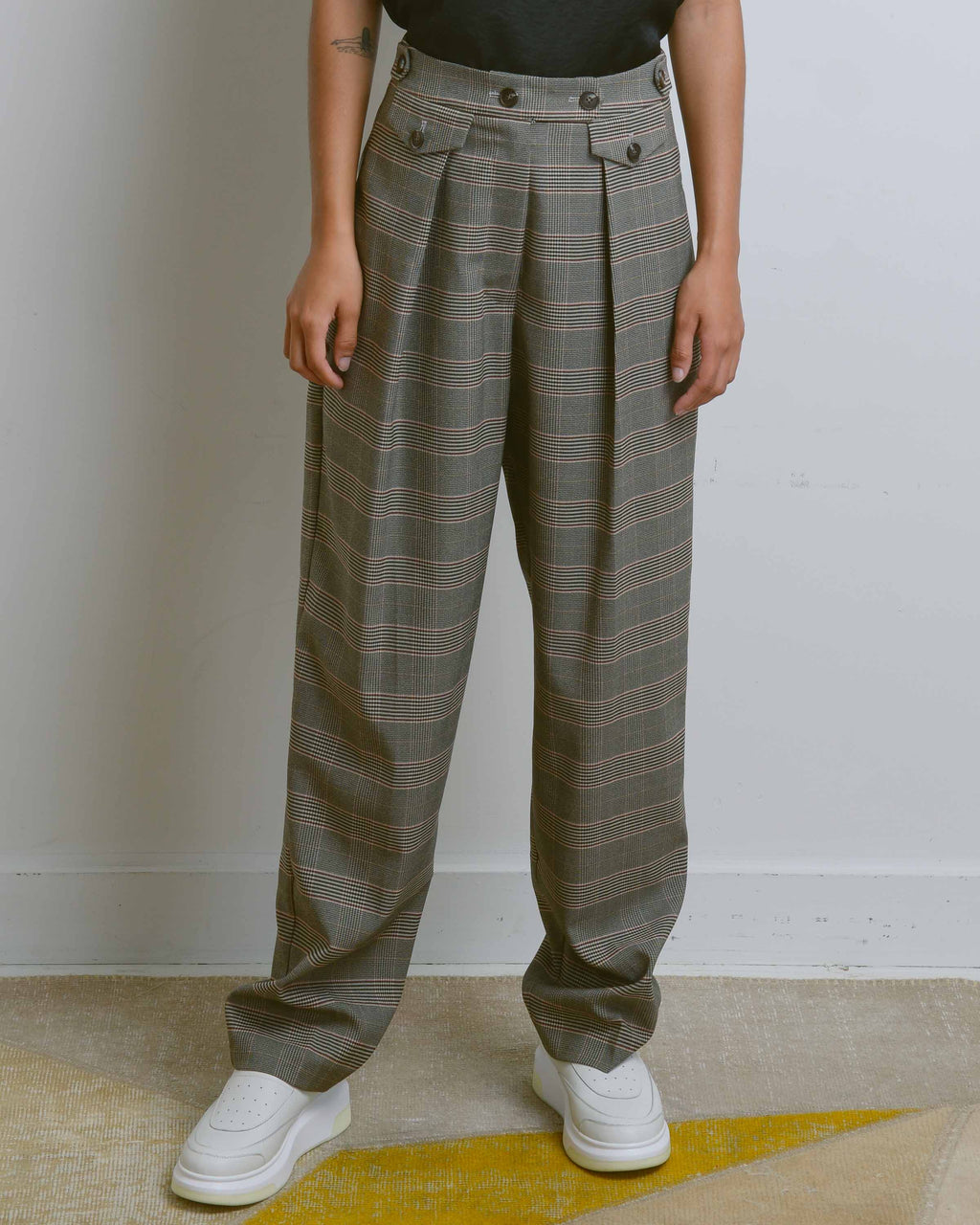 Brown Plaid Tailored Pleat Trousers