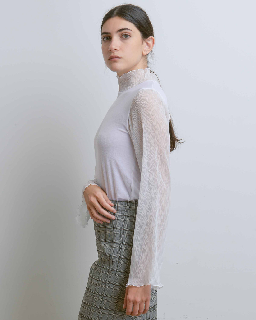 White Wave-Pleats Sheer Top