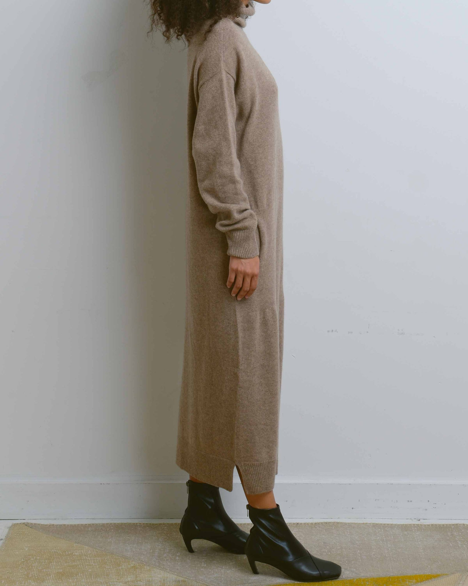 Dark Beige Wholegarment Turtle Neck Knit Dress