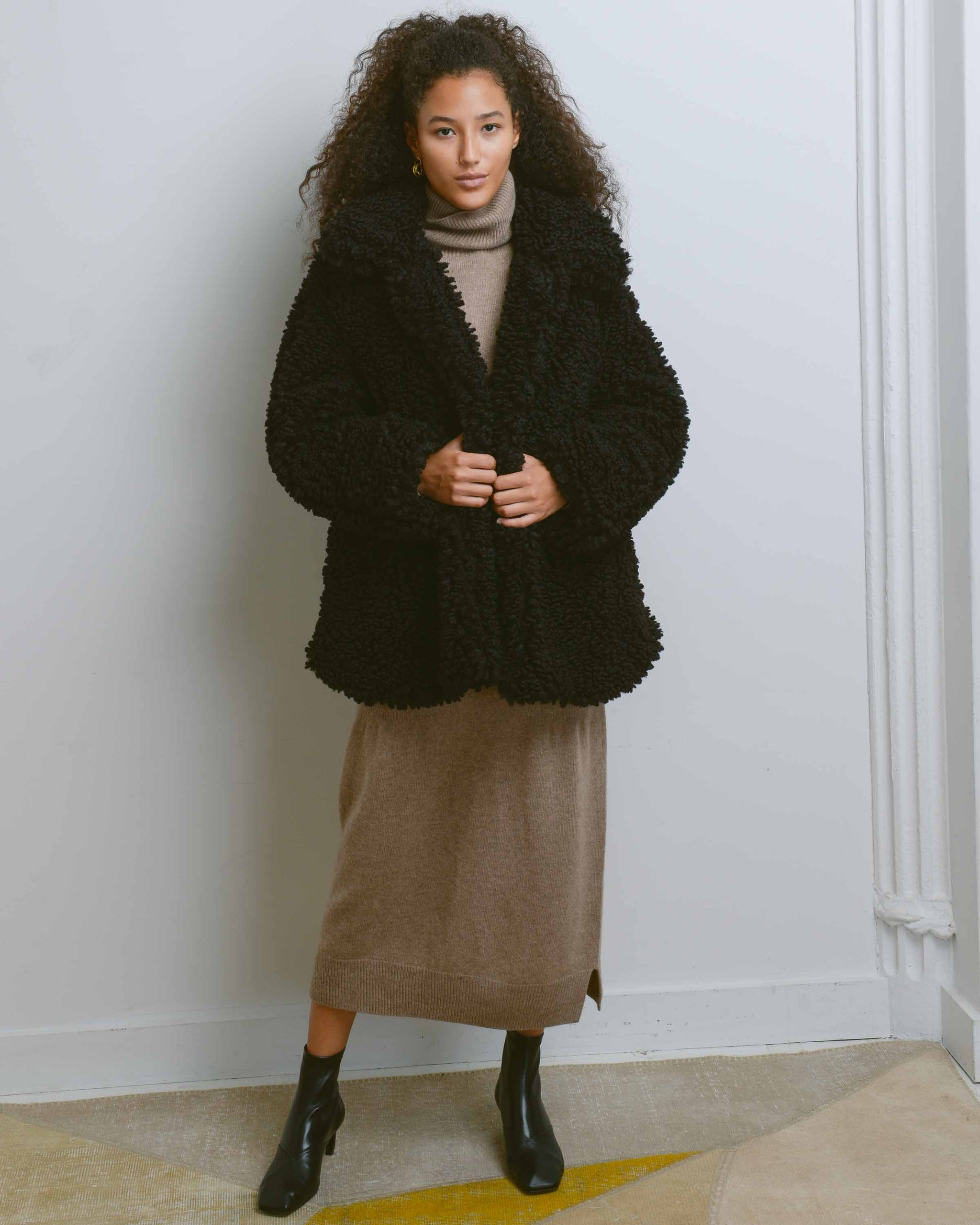 Black Lamby Faux Fur Coat