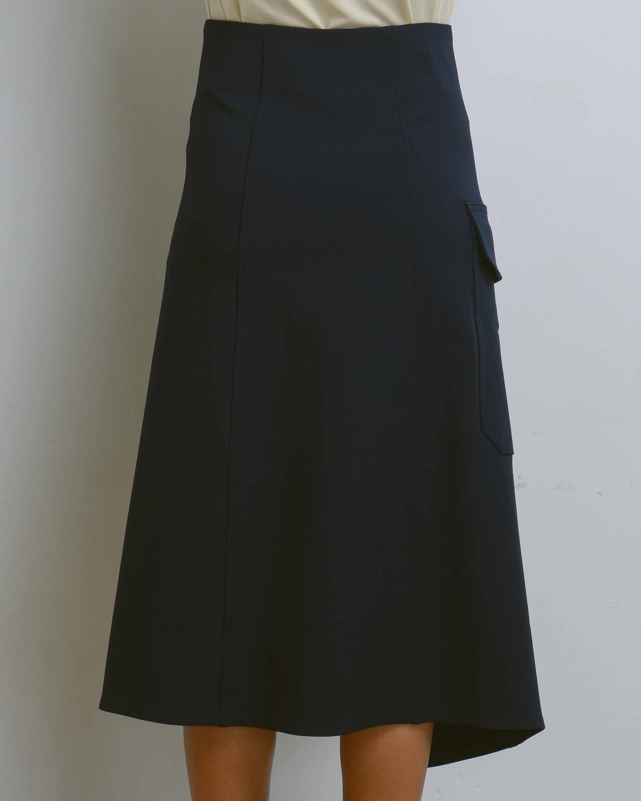 Navy Button Detailed Wrap Skirt