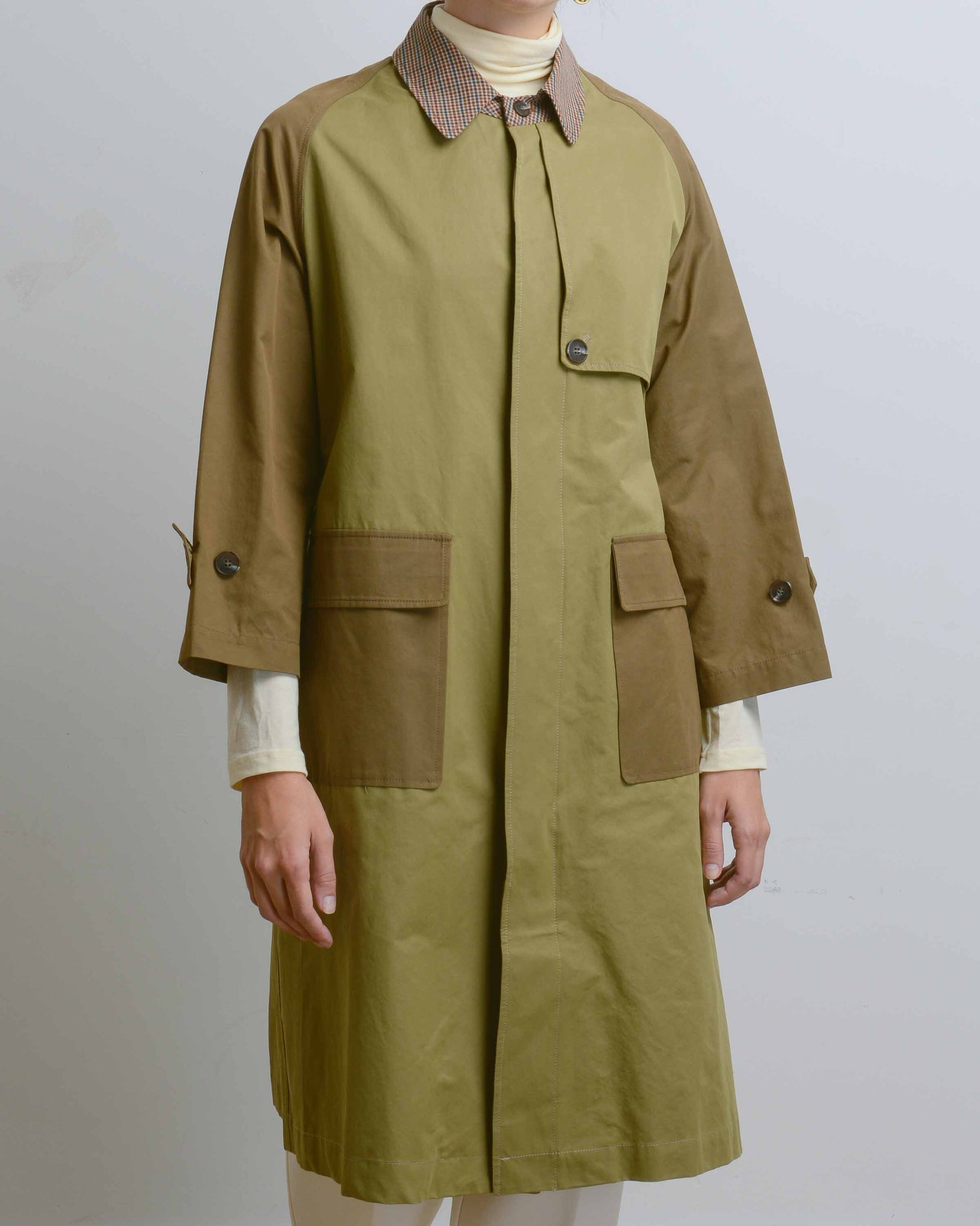 Olive Color Block Single Breasted Trench