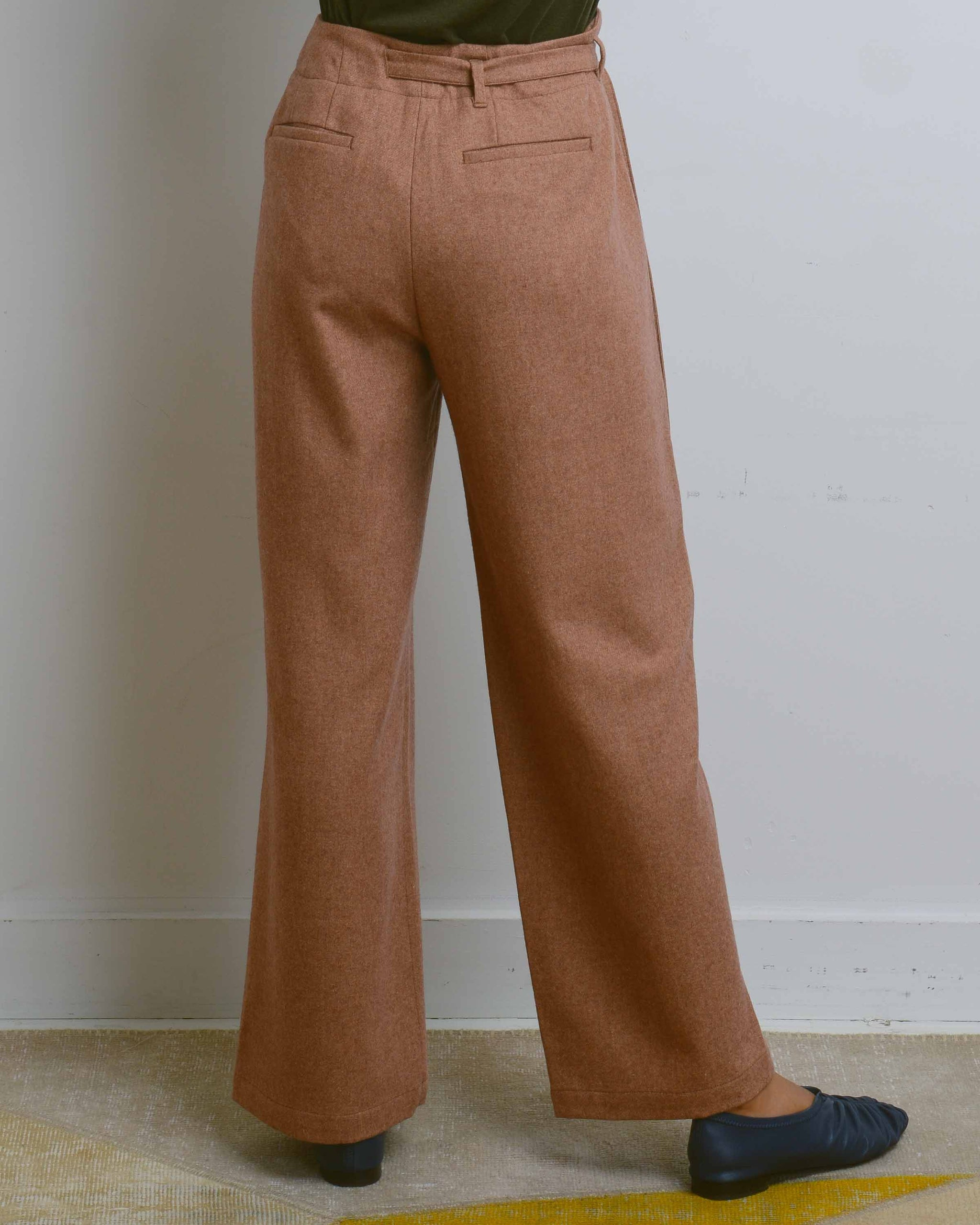 Tan Strap Wool Pants