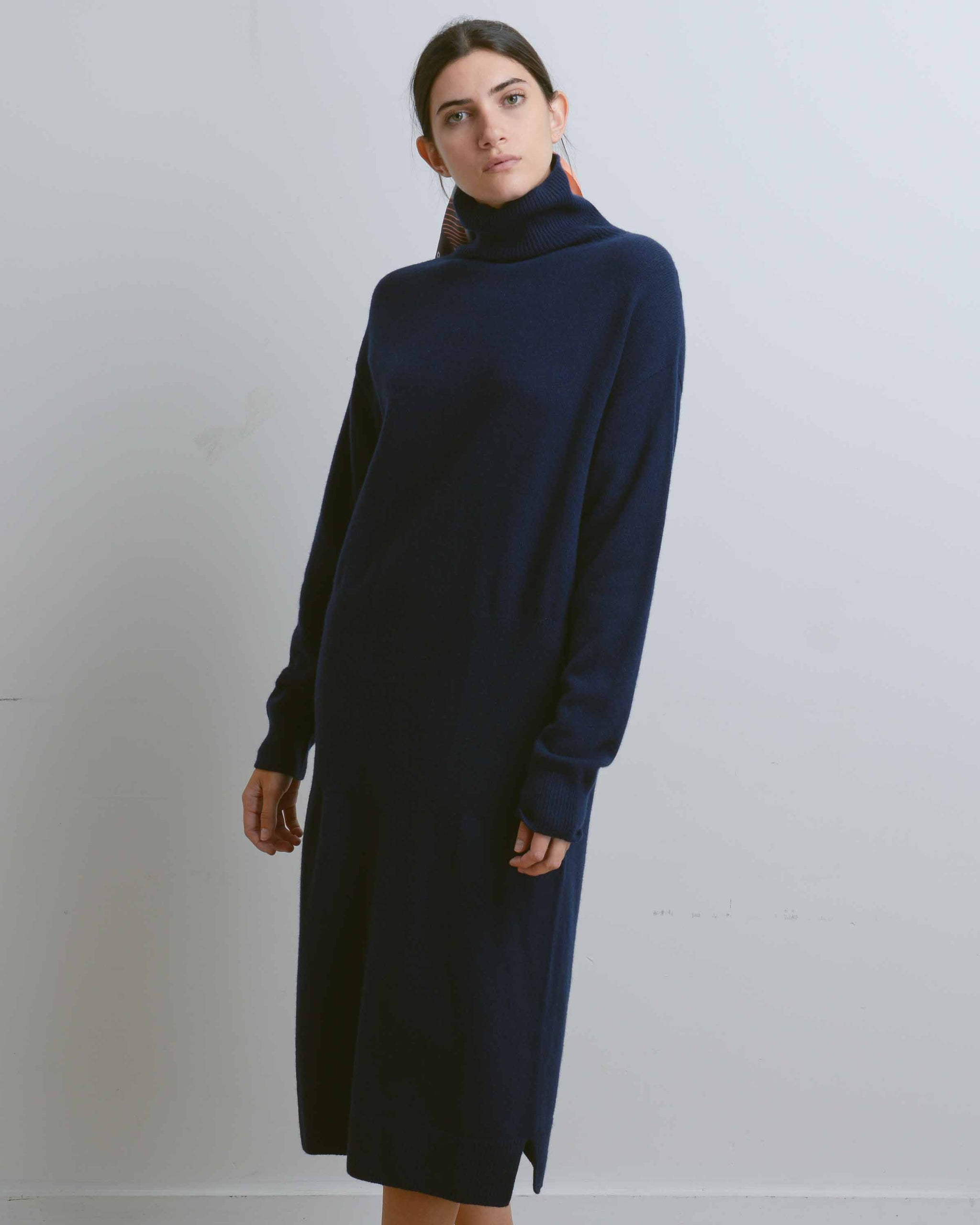 Navy Wholegarment Turtle Neck Knit Dress