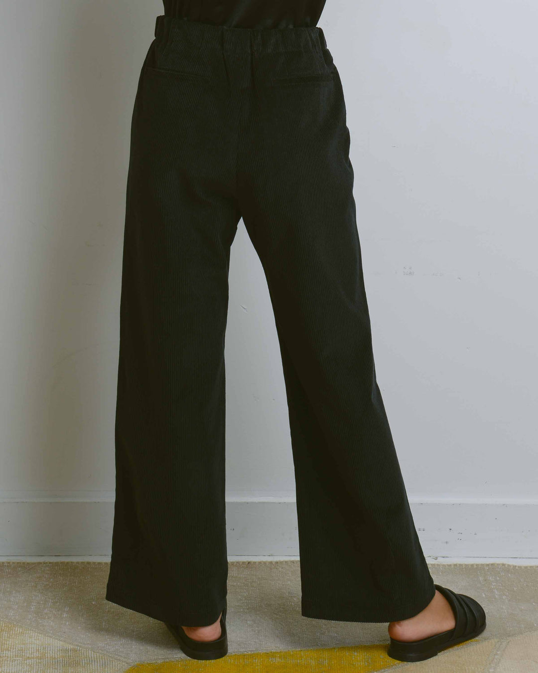 Black Corduroy Webbing-Belt Pants