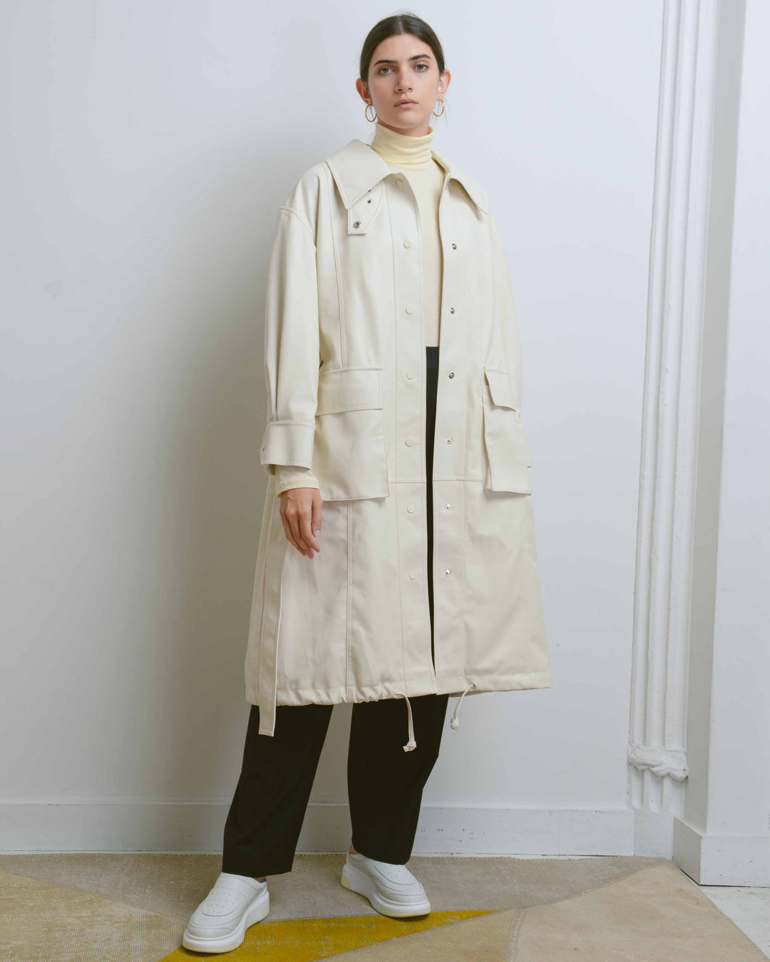 Ivory Leather Coat