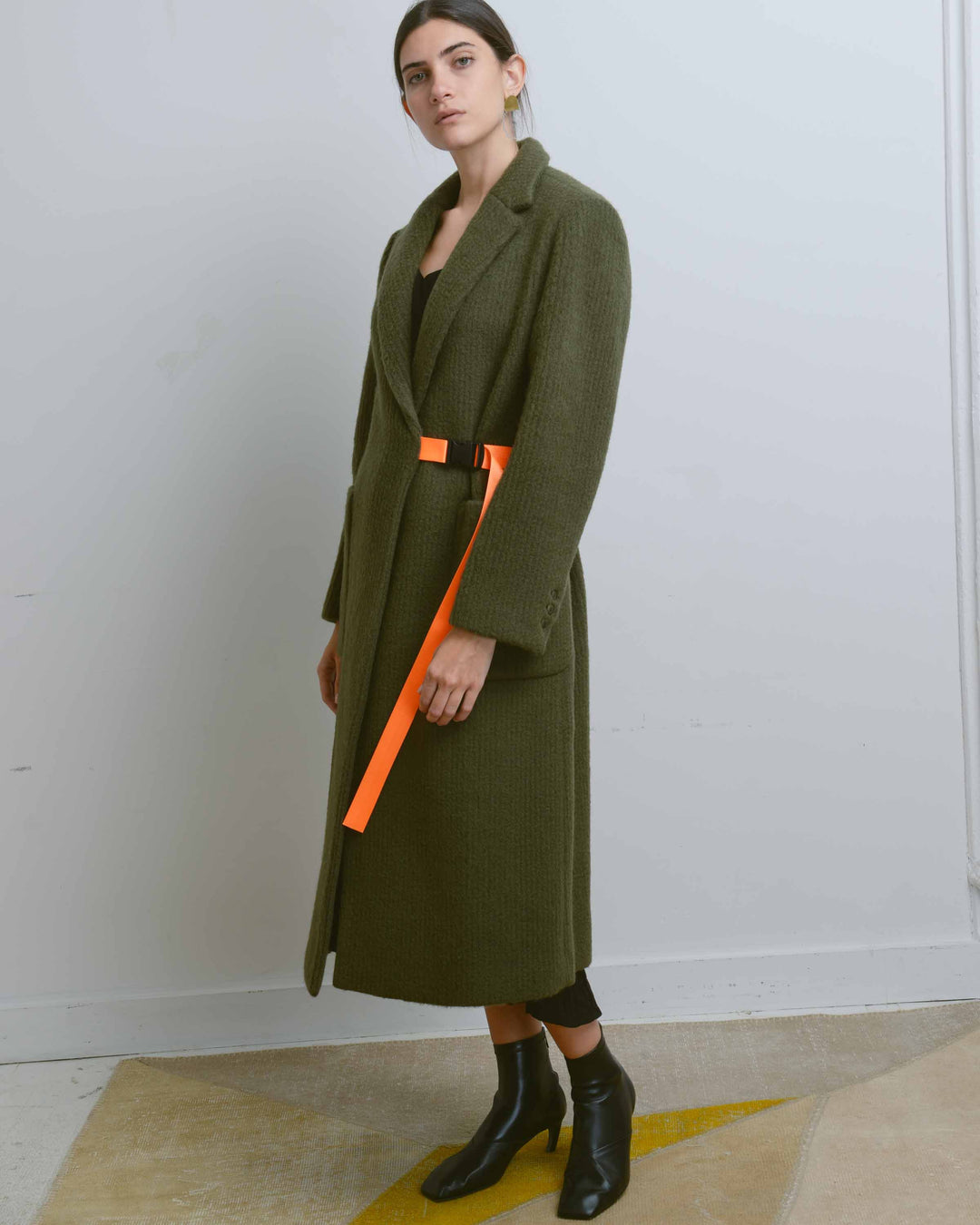 Khaki Green Webbing-Belt Long Coat