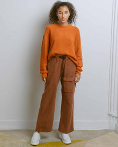 Brown Corduroy Webbing-Belt Pants