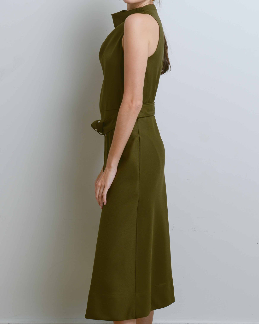 Moss A-Line Cowl Neck Dress