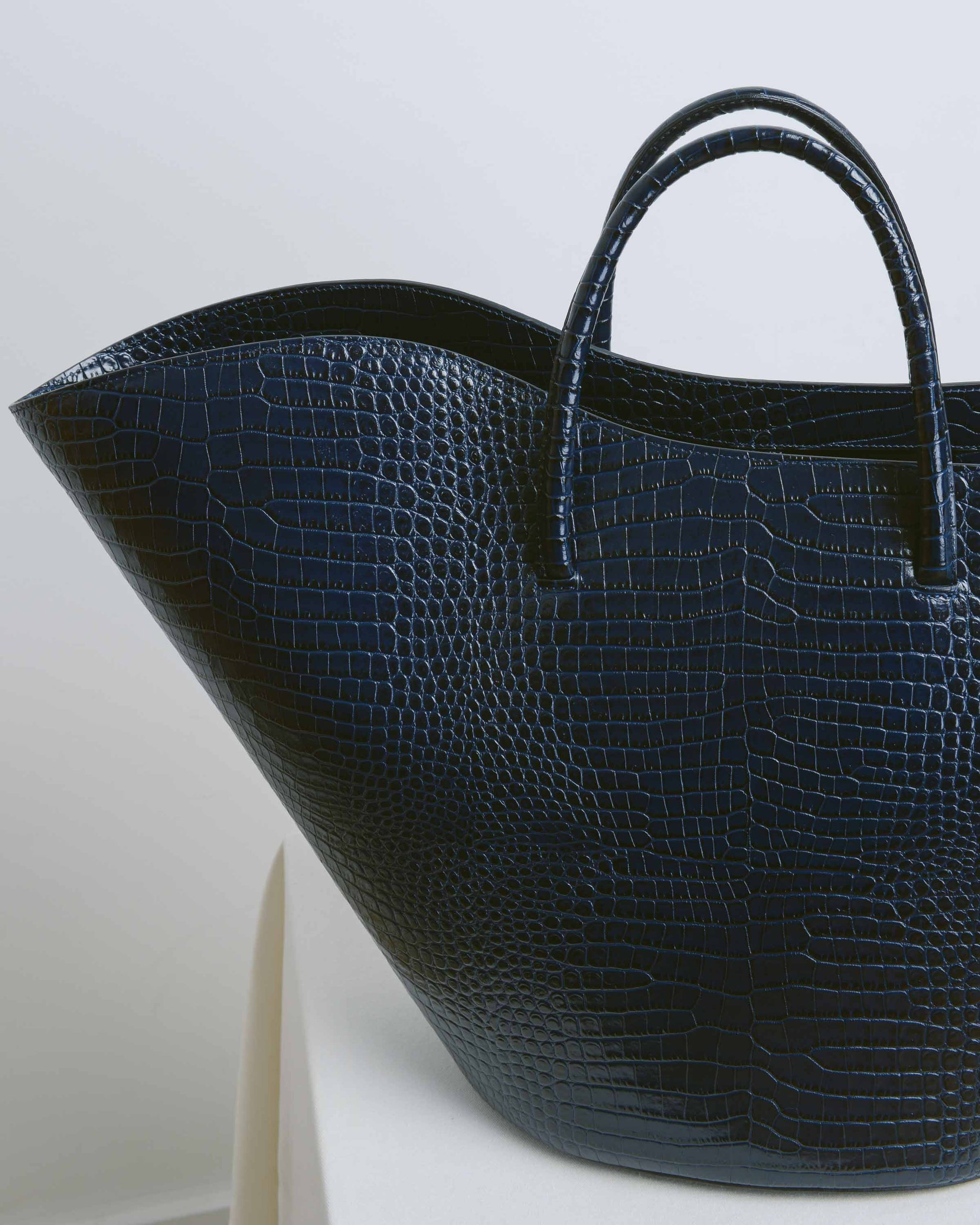Navy Large Open Tulip Tote