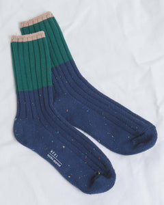 Navy Colorblock Socks