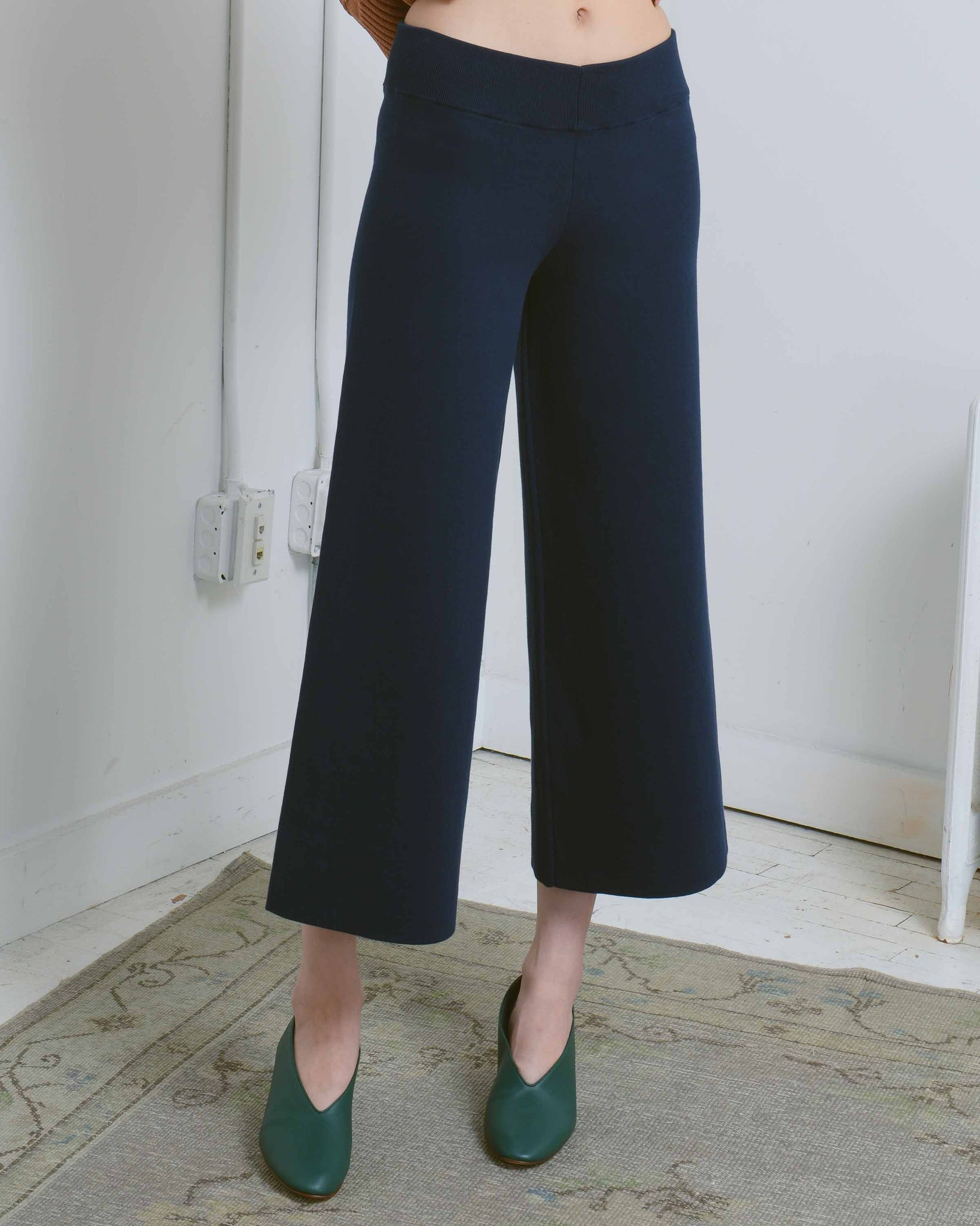 Navy Cropped Culottes