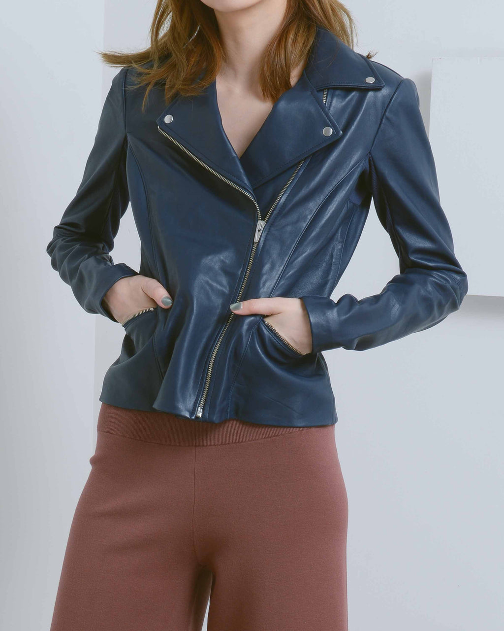 Navy Dallas Leather Jacket