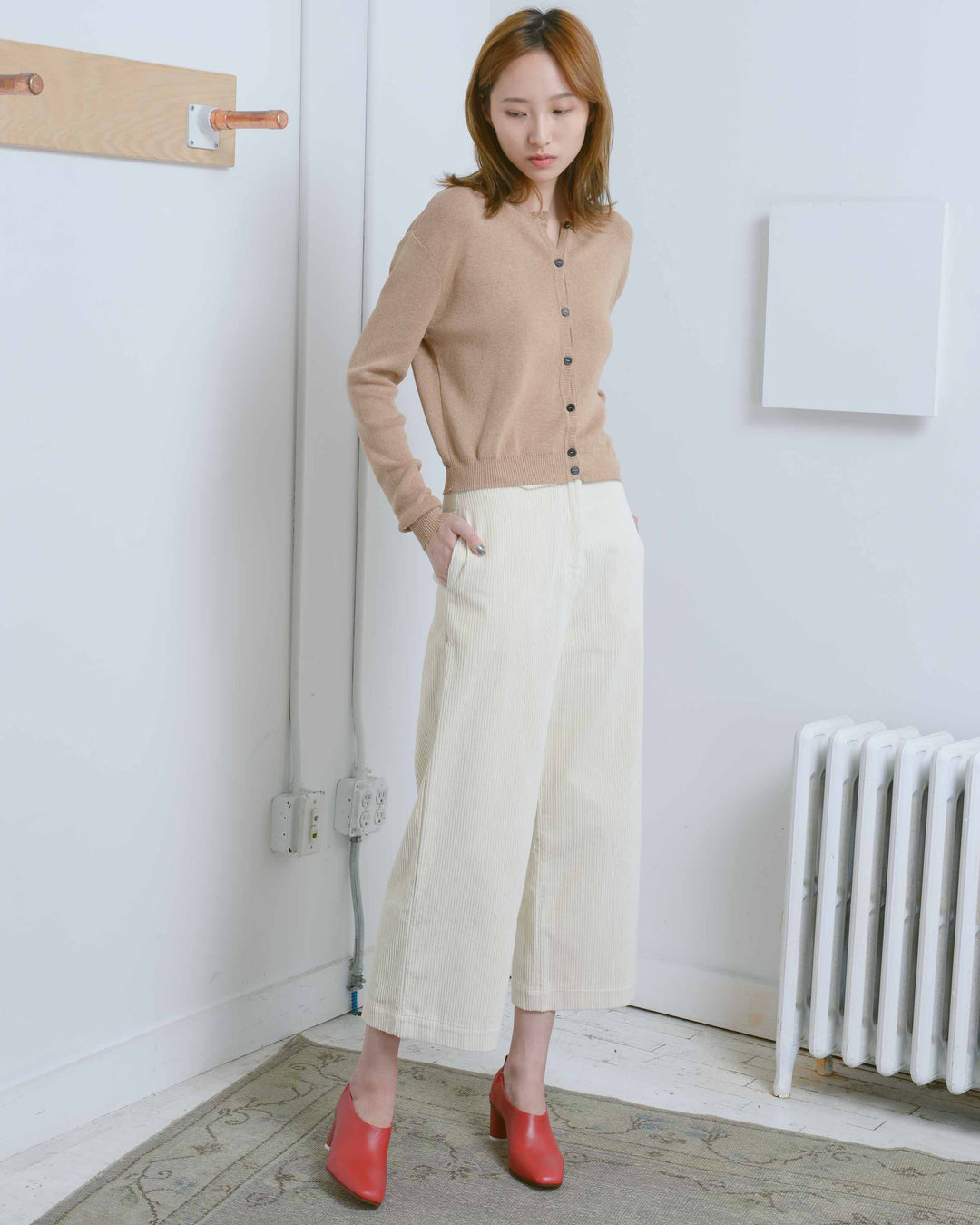 Cream Wide Leg Corduroy Pants
