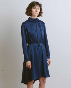 Navy High-Neck Shirring Dress