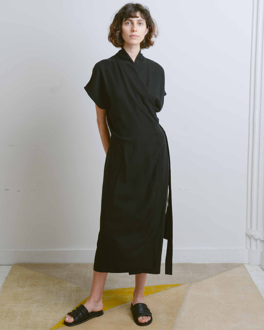 Matte Black Tencel Wrap Dress