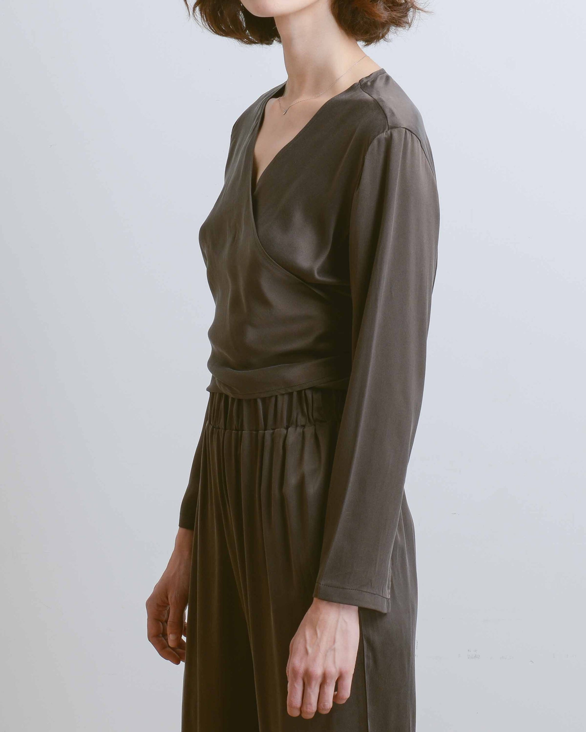 Chocolate Sueded Silk Wrap Top