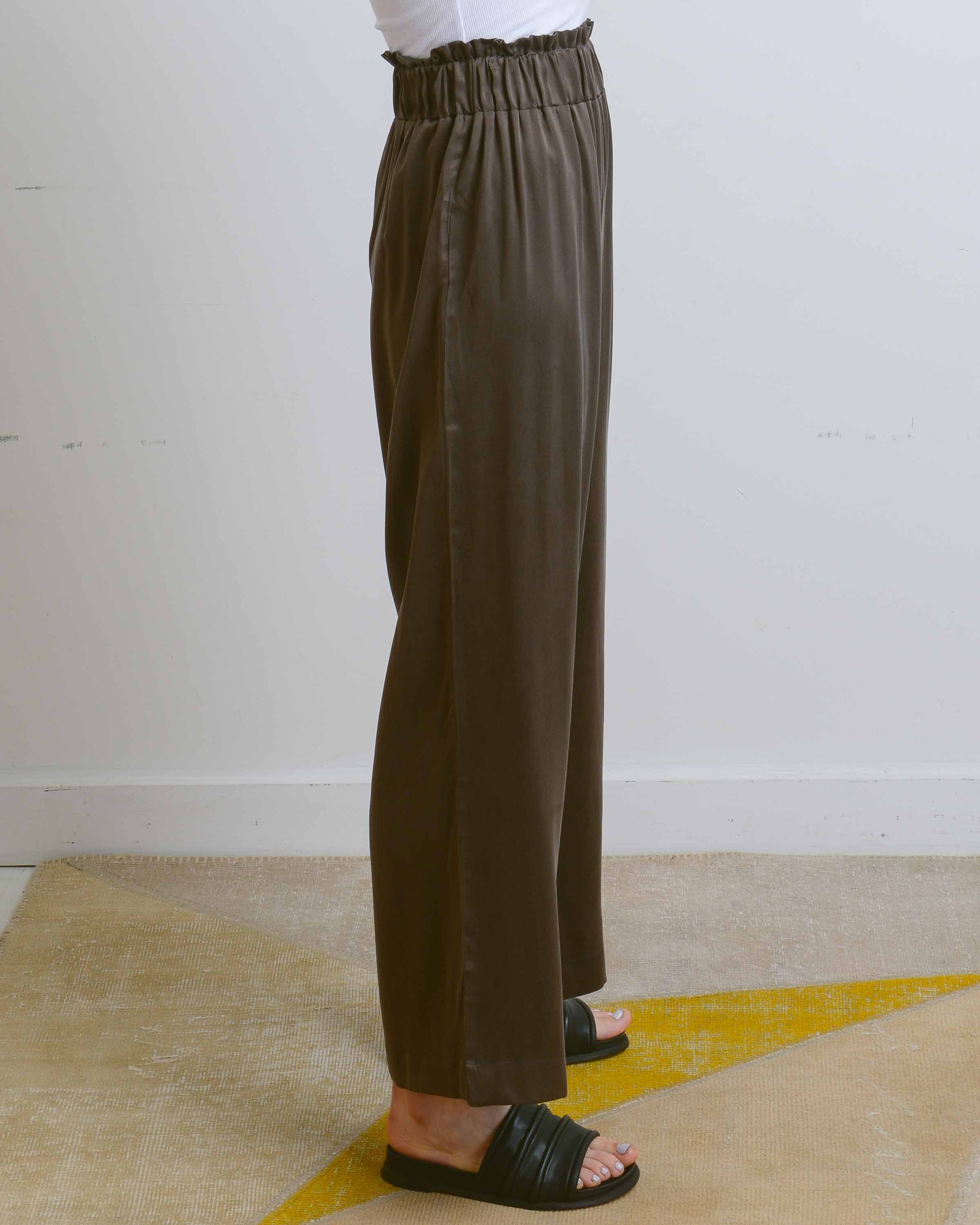 Chocolate Sueded Silk Whoosh Long Pant