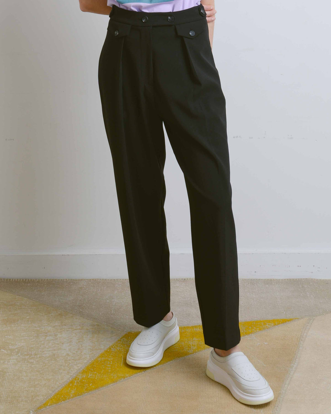 Black Tailored Pleat Trousers