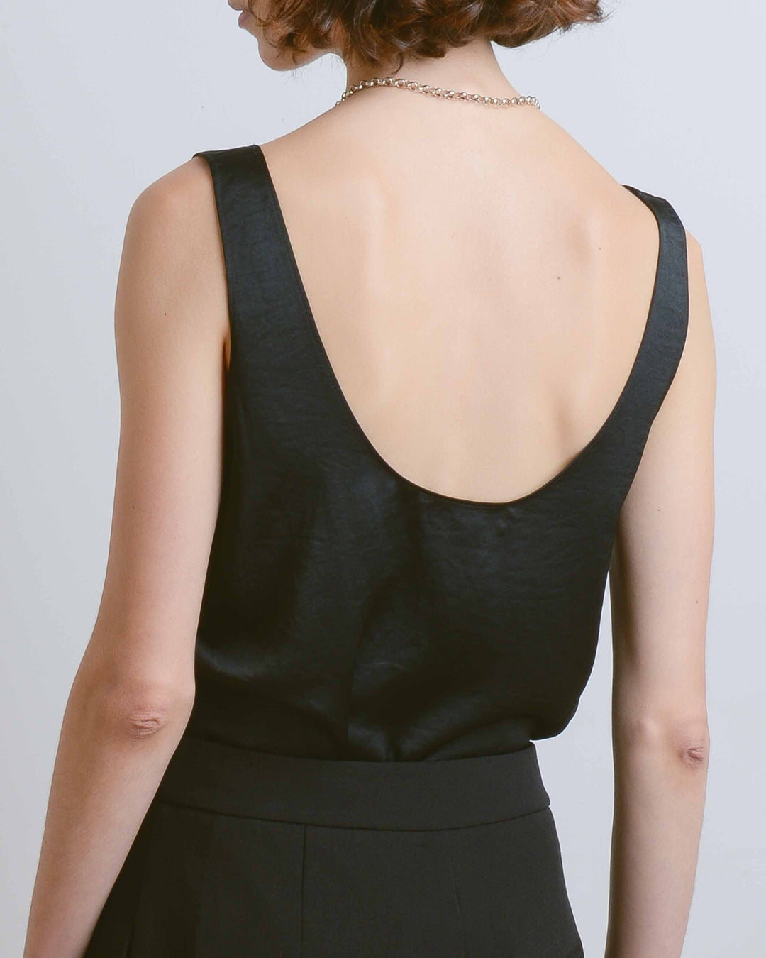 Black Satin Wide Neck Tank