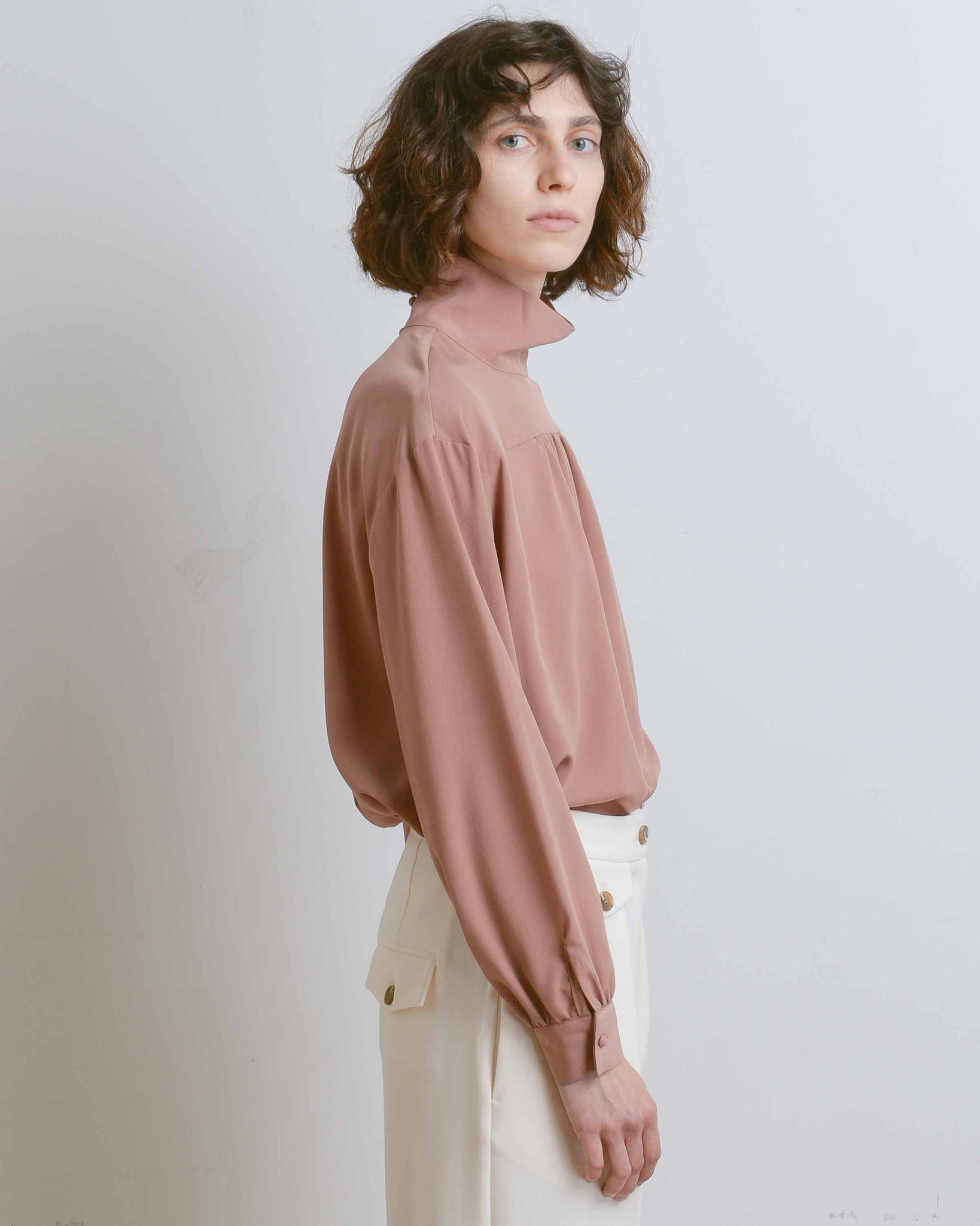 Dark Beige High Neck Blouse