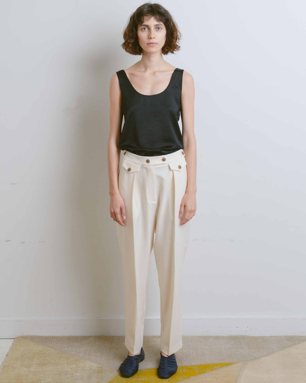 Cream Tailored Pleat Trousers