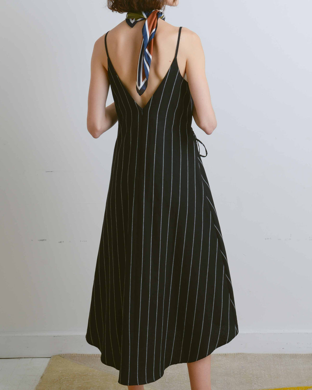Black Pinstripe Apron Dress