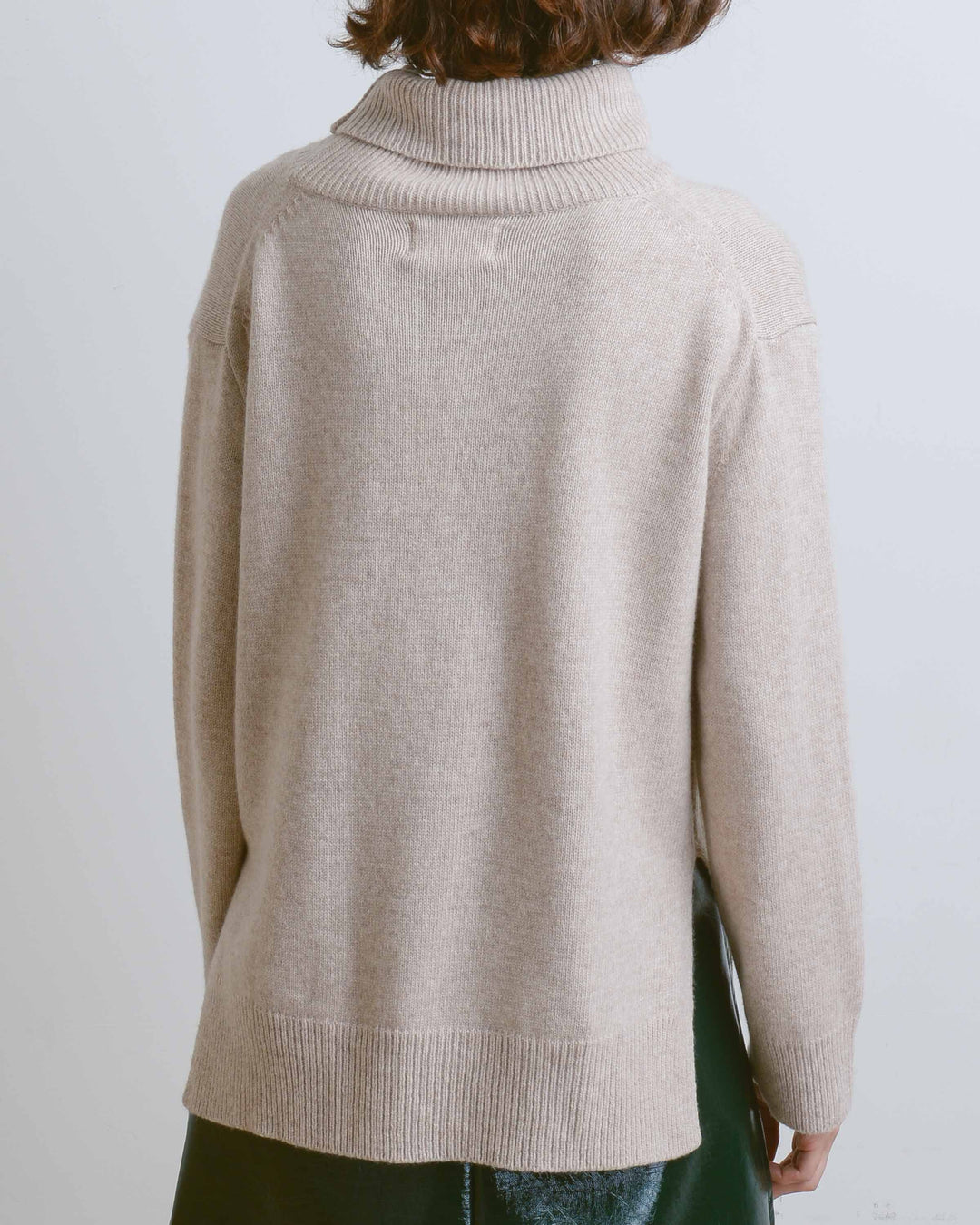 Oatmeal Turtle Neck Knit Top