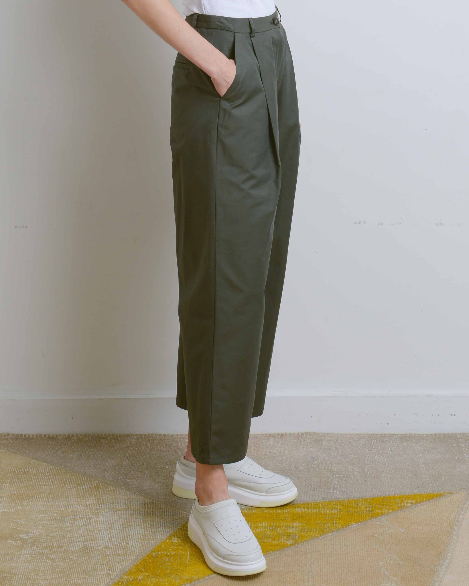 Khaki Green Cotton Button Pants
