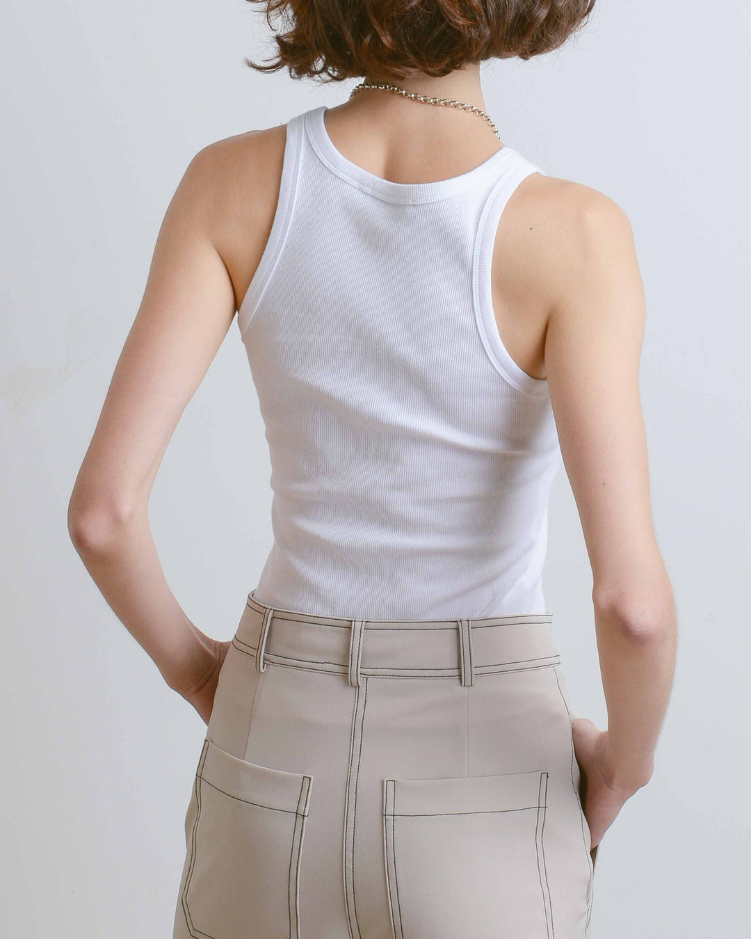 White Simple Ribbed Tank