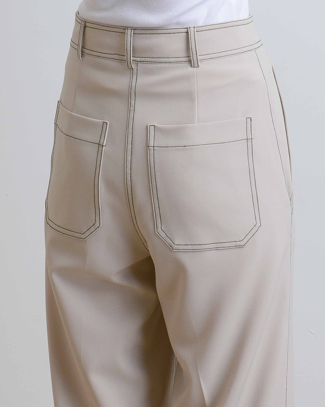 Taupe Contrast Stitch Pants