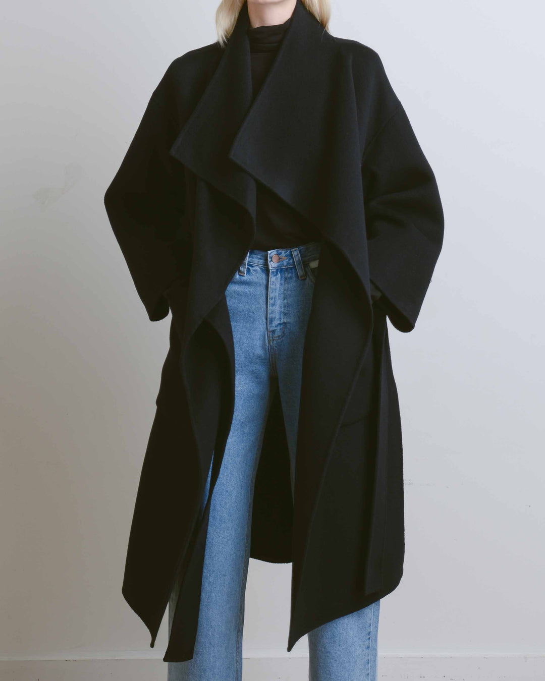 Navy Cashmere Blend High Neck Handmade Coat