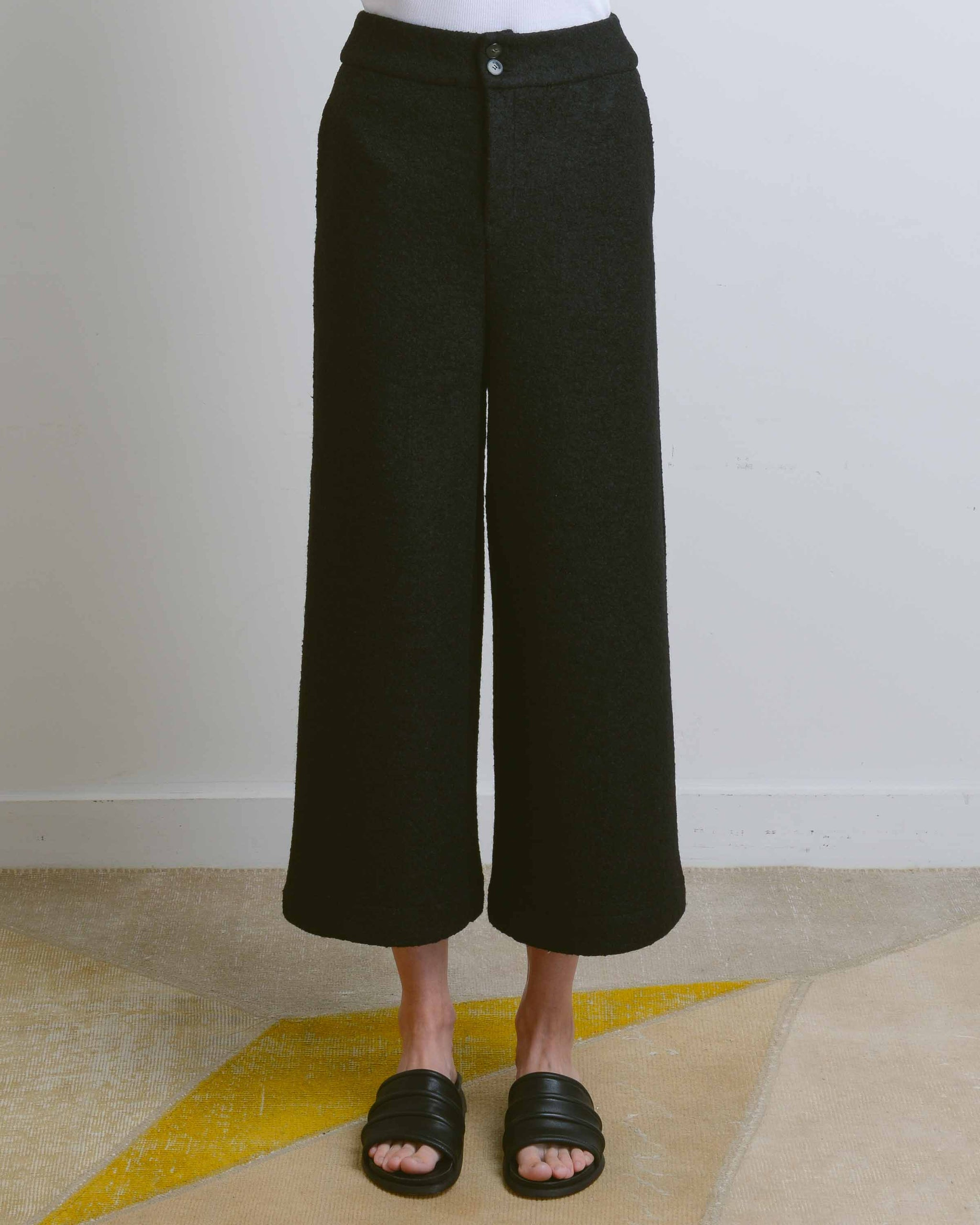 Black Puddle Wool Pants