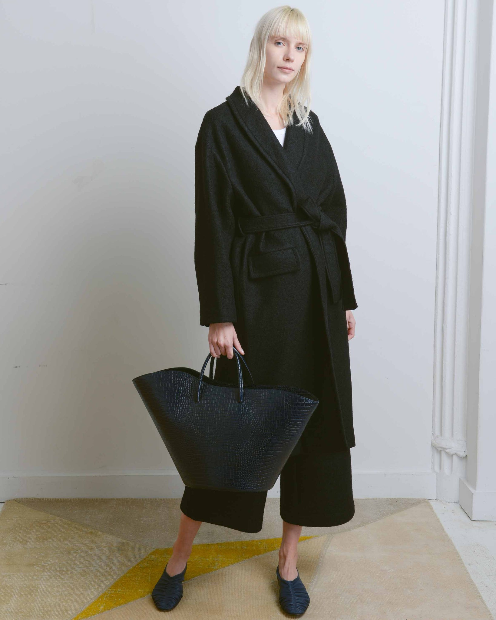 Black Long Robe Wool Coat
