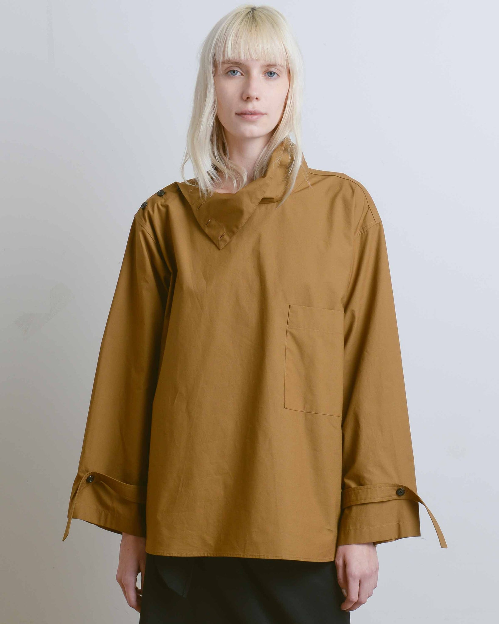 Alexa High Neck Cotton Shirt