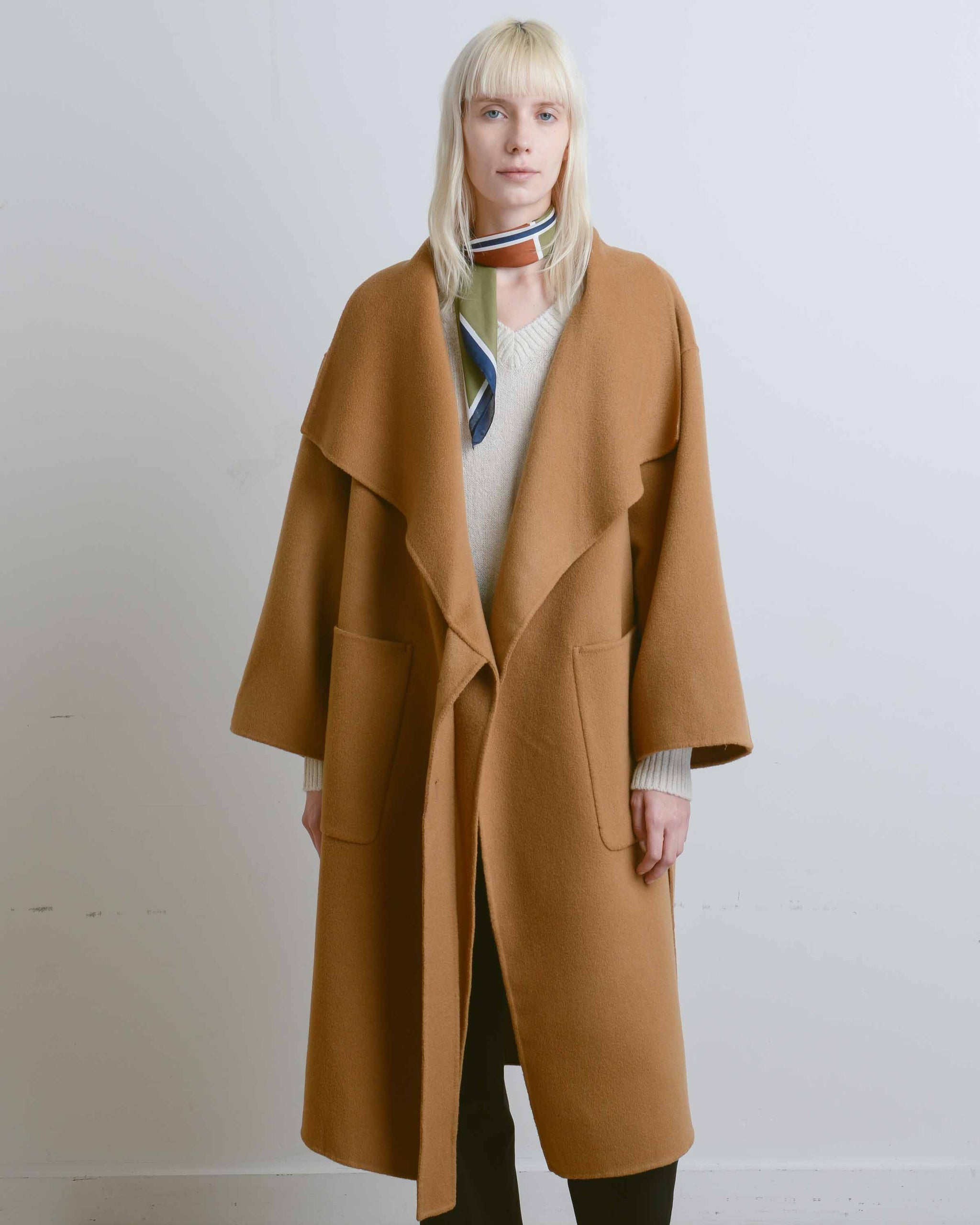 Camel Cashmere Blend High Neck Handmade Coat