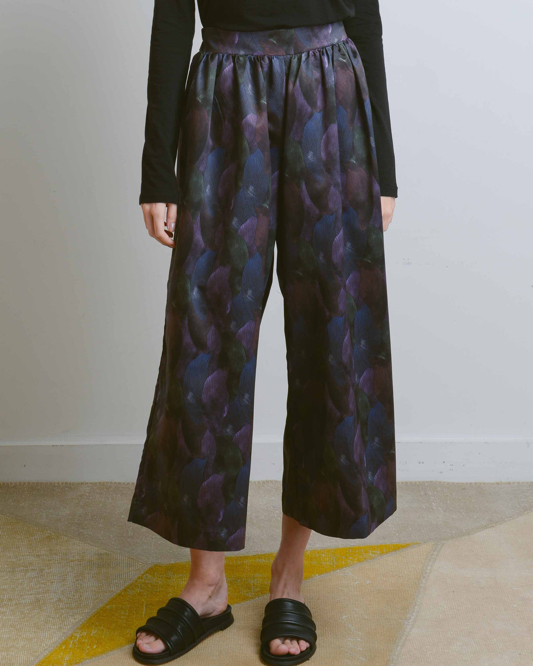 Forest Print Shirring Wide Pants