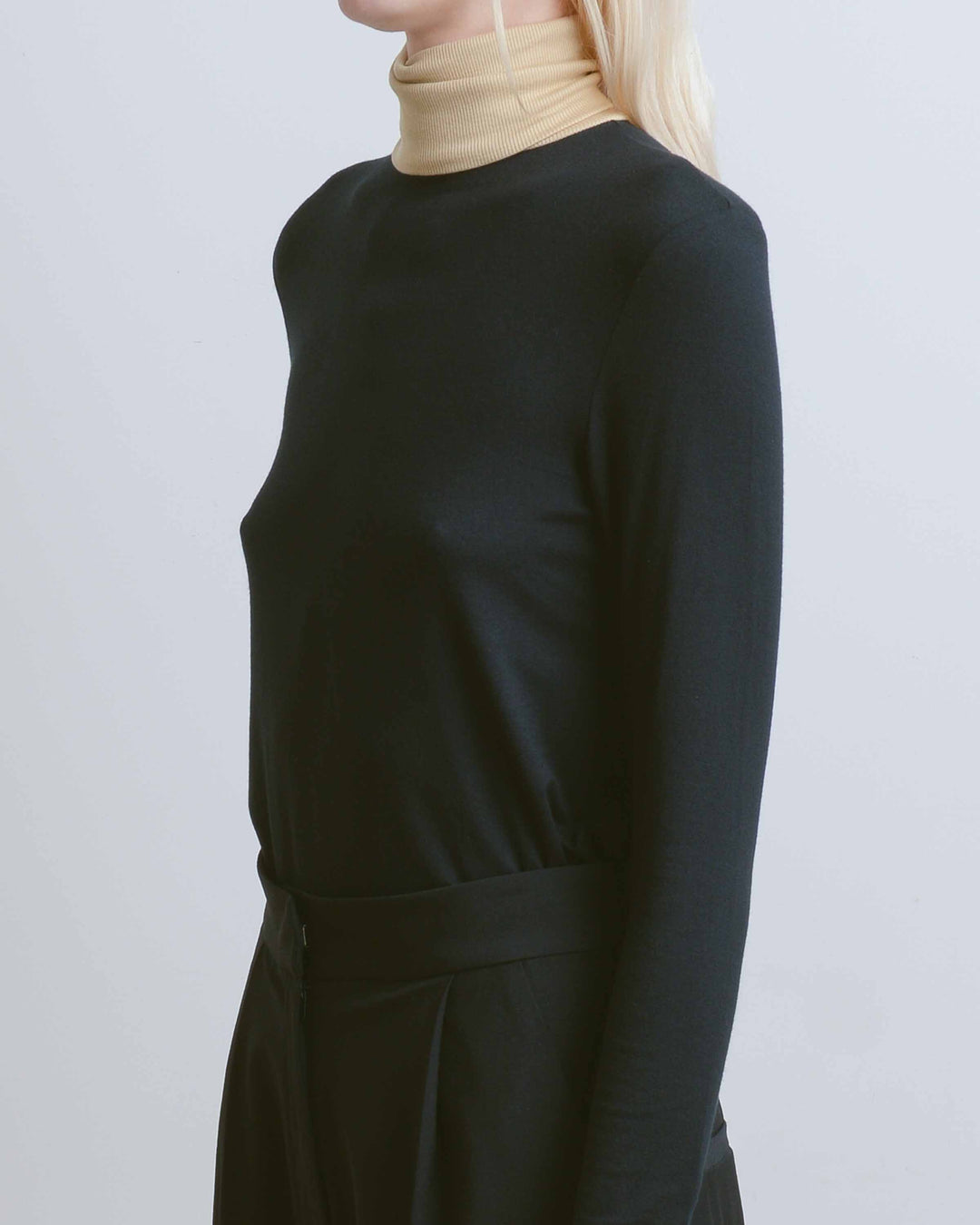 Black Colorblock Turtleneck