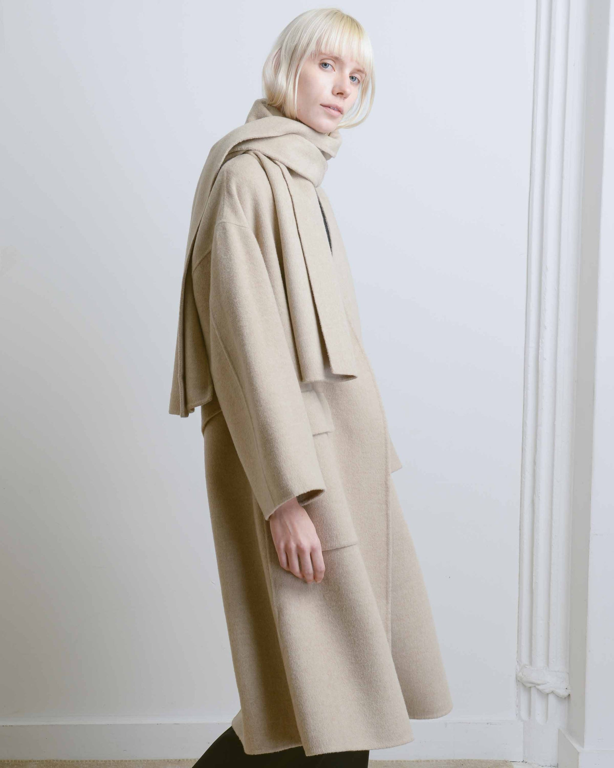 Taupe Wool Blend Handmade Coat with Scarf