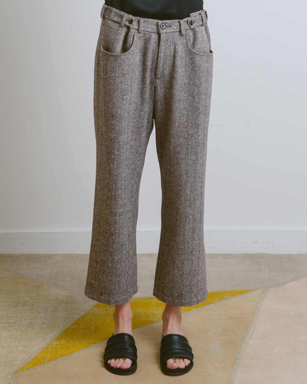 Brown Herringbone Pants