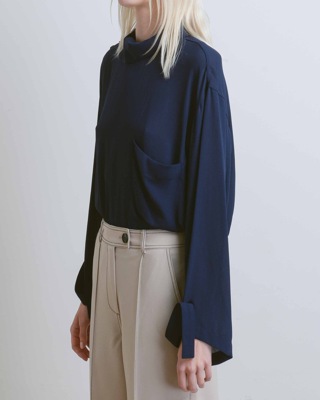 Alexa High Neck Poly Crepe Shirt