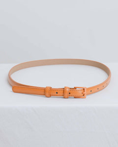Tan Faux Leather Thin Belt