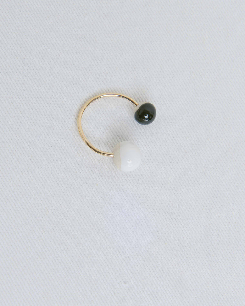Gold Porcelain Double Pearl Ring