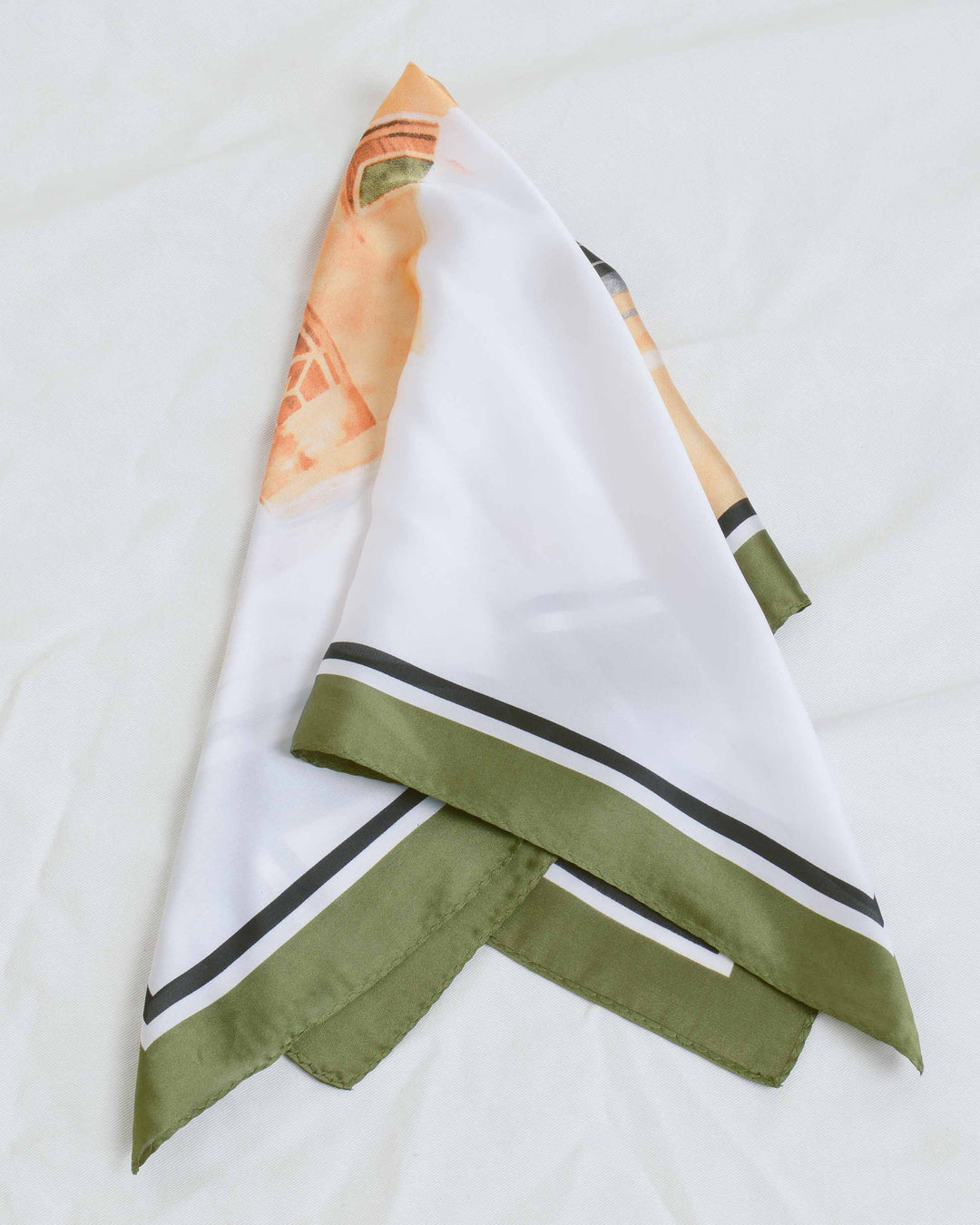 Green Abstract Cat Printed Scarf