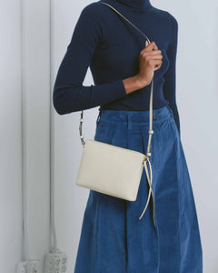 White Top Zipper Crossbody Bag