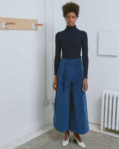 Blue 2-Tucks Wide Leg Pants