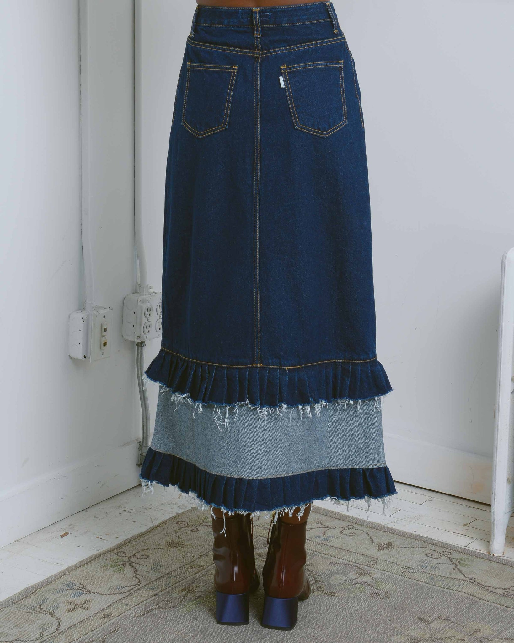 Blue Frill Detail Denim Skirt