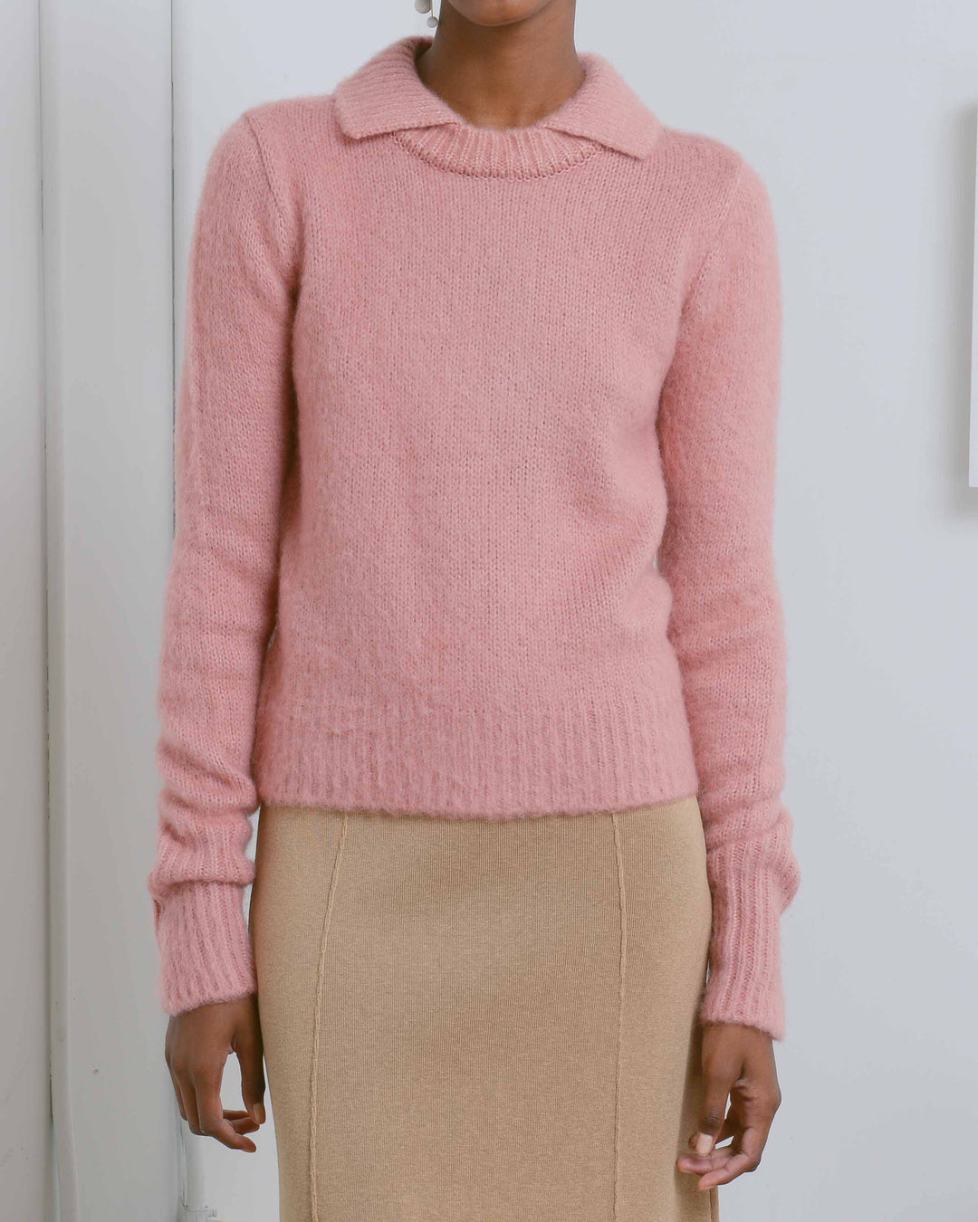 Pink Brushed Collar Sweater