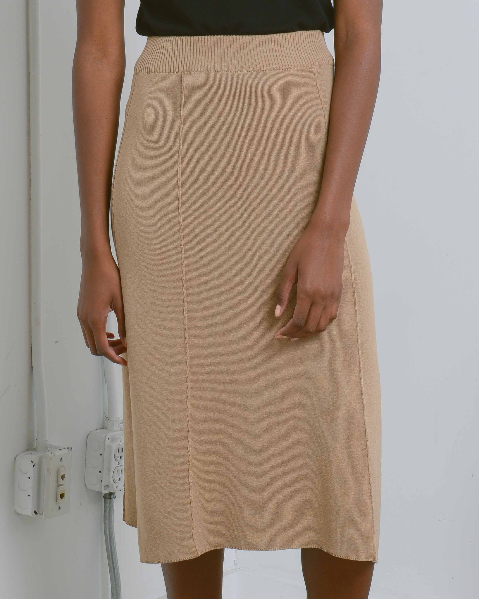 Camel High Waist A-Line Skirt