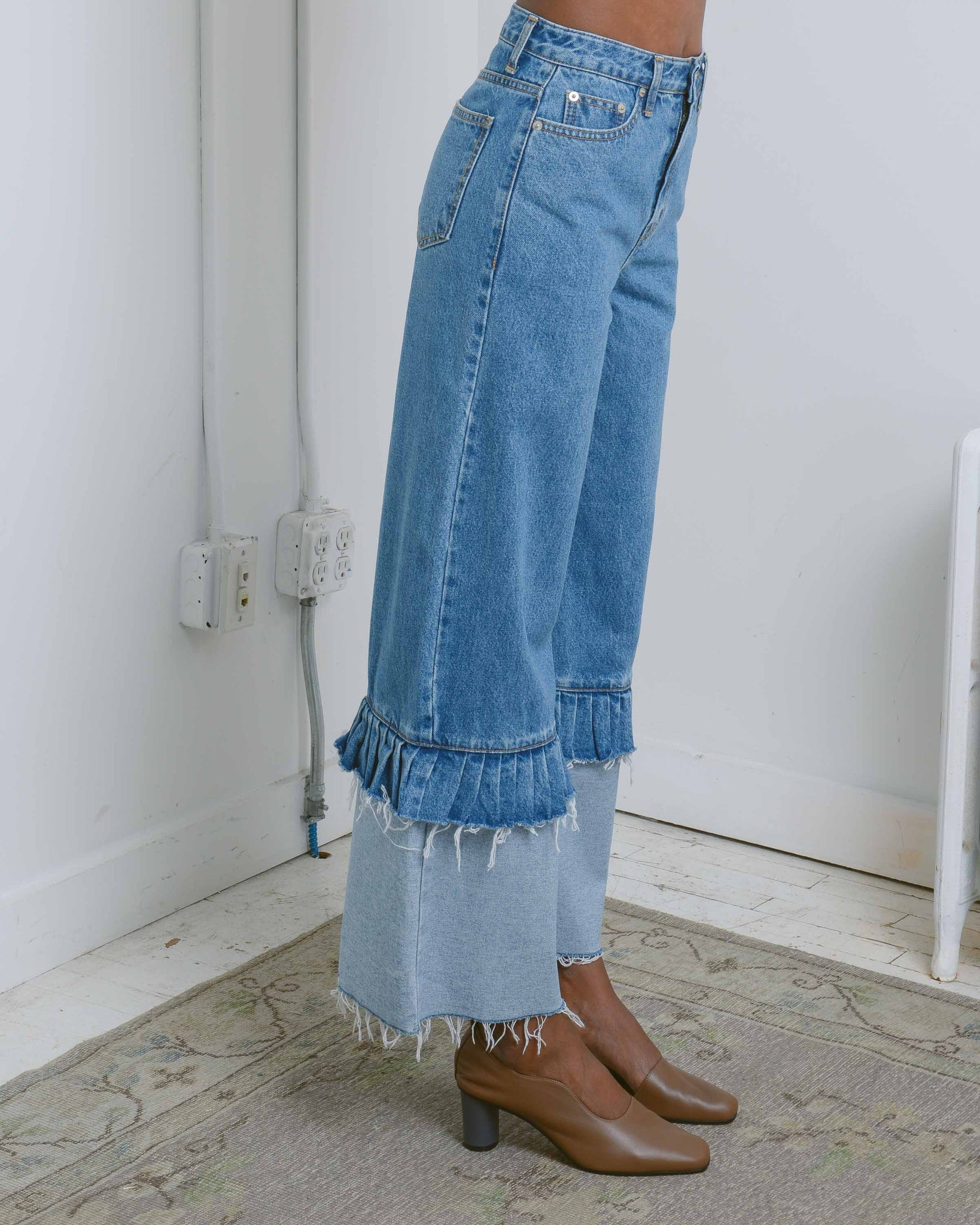 Blue Frill Detail Wide Leg Jeans